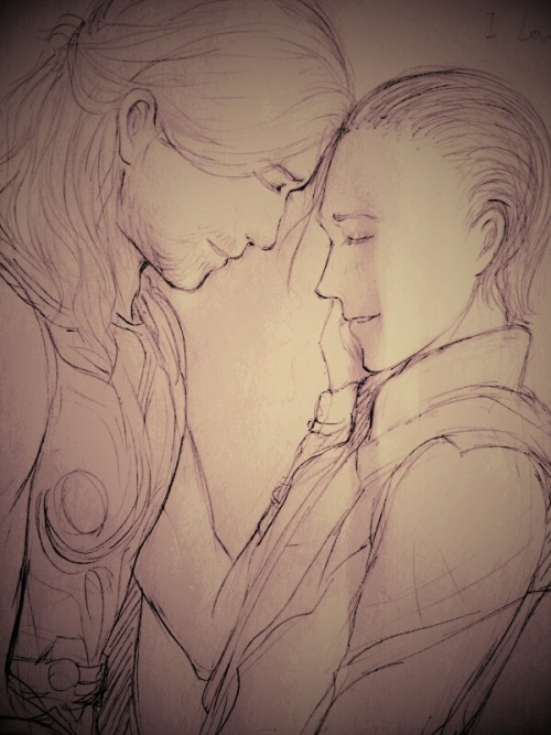 My first Thorki drawing…. >///v///