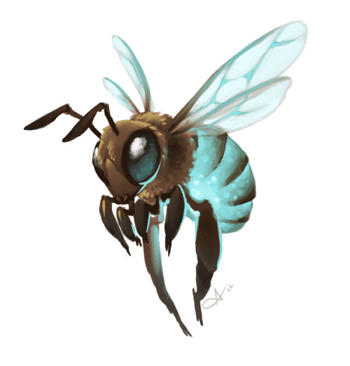 "Luna Bees Like river lilies, luna bees have proven themselves to be one of the valley's most valuable assets since the ""factory"" sprang to life, single handedly pollinating the majority of the surviving flora. These hearty little guys build their hives in the hollows of trees, and are named for their nocturnal lifestyle and brightly glowing bioluminescent thoraxes. They have no stingers, but the chemicals that make them glow are mildly toxic and foul tasting to creatures that might eat them, so they have few natural predators. Their honey also glows faintly, but the concentration of the chemical is too low for humans to notice and poses no danger to those who consume it. While luna bees exist in large numbers in the wild, farmers and herbalists often keep hives of them to help cultivate their plants, especially in a greenhouse environment. Greenhouses are vital to village survival in the valley, as the inclement weather is unsuitable for growing many useful medicinal herbs. Due to the natural intensity of their glow, a handful of luna bees makes a suitable light source in a pinch. Some villagers utilize humane lanterns that attract the bees with sugar water, but allow them to come and go as they please. On a dry night, one can expect a steady presence of 4-5 bees in a sugar lantern."