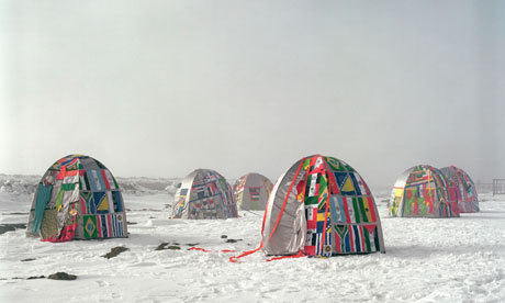 Antarctic Village – No Borders. Photograph: Courtesy Lucy and Jorge Orta As part of Wide Open School project at London's Hayward Gallery, artists discuss their ideas for cities of the future. This photo is Lucy and Jorge Orta's future community called Antarctic Village – No Borders. Artists Fritz Haeg, Marjetica Potrč and Tomás Saraceno have also taken part in this project. You can see and read about their future cities here.