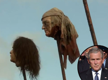 Game of Thrones Shocker: GWB's Head Shown Decapitated on a Stake  Man I love this show!