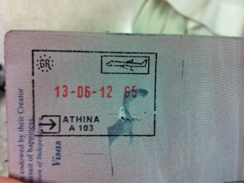 In Athens! Filling up the pages of my passport.