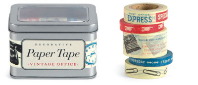 wellappointeddesk:   Vintage office paper tape from Cavallini & Co.There are several varieties available but this is my current favorite. Available online from Paper Source. Four rolls in a tin for $17.95. Original Article
