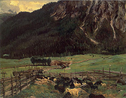 John Singer Sargent, Sheepfold in the Tyrol on Flickr.  Click image for 577 x 450 size.