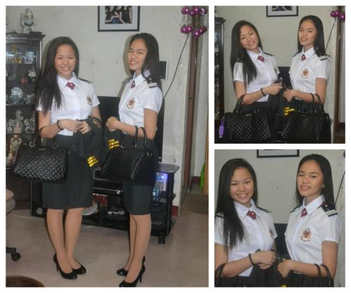 First day of school. College na ko :D  w/ my twin sister :)