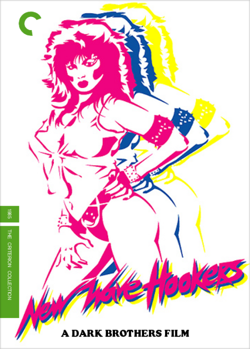 Second rendering, Fake Criterion for New Wave Hookers (The Dark Brothers, 1985) Not sure who the artist was, but image found at Cheetahmen II