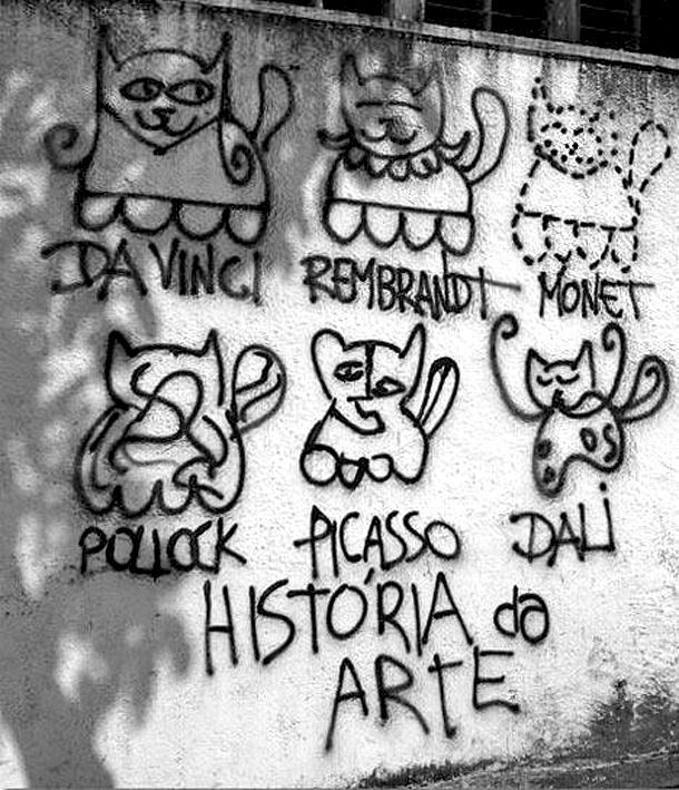 theinternetsuckstoday:  The history of art: explained via helpful cat graffiti