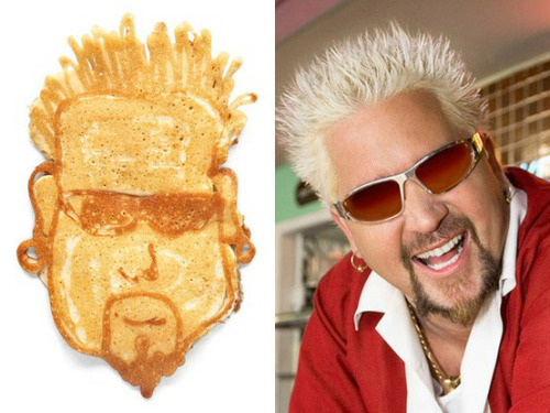 "The Food Network made pancakes in the likeness of some its celeb chefs, including Guy Fieri. I bet he said it was ""Off the Hook"""