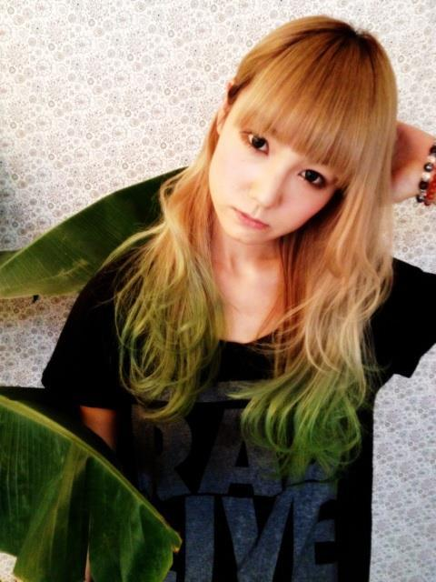 """Mami Sasazaki of Scandal (a japanese band) :D*mami sasazaki again, with her new green dyed hair :] "" It's beautiful, thanks for sharing!"