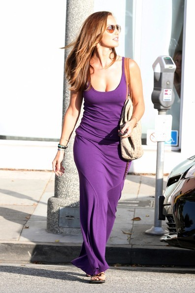inherglam:  Minka Kelly in a gorgeous purple maxi dress leaving a salon in LA, love it?