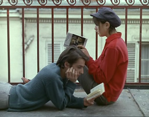awesomepeoplereading:  Jean-Pierre Leaud and Juliet Berto read.