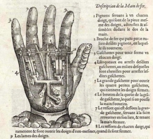 {Hands as maps.} Artificial hand from Instrumenta chyrurgiae et icones anathomicae, by Ambroise Paré,  Paris, 1564. linactuel