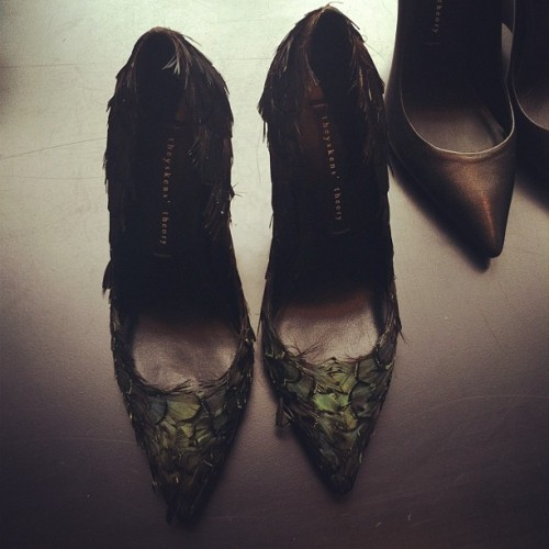 Feathered shoes for resort! #theyskens @theory__  (Taken with Instagram)