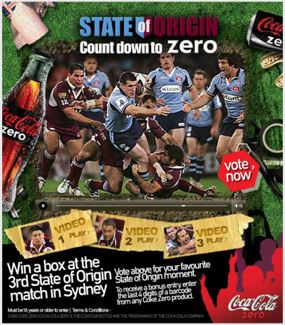 State Of Origin Competition Promo and Banner Ads for Coke Zero. Working for Gruden, uP'n'@tOm was responsible for animating the promos and banner ads for the 2008 State of Origin Coke Zero Promotion on NineMSN. View Project