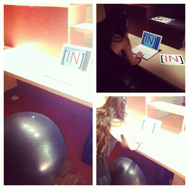 NO chairs @INcubes Office Admin Station. Stability Balls promote Active #startup culture.