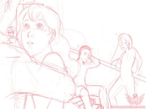 streetangel8:  An early Team Human scene WIP. Featuring perhaps…20% of Francis, Cathy's head and most of Ty and Mel.  I love Cathy's starry, starry eyes. 'HANDSOME VAMPIRE TOUCHING ME!'