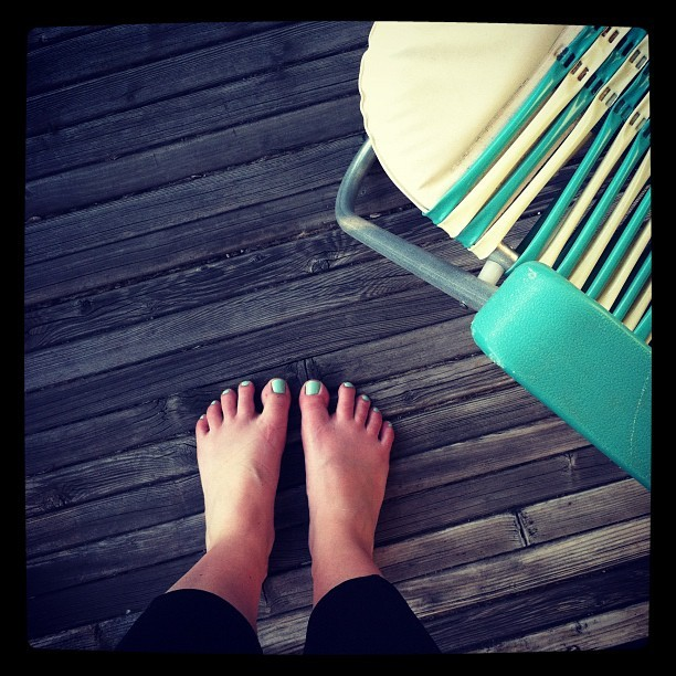 Matching toes and patio furniture in my favorite color.