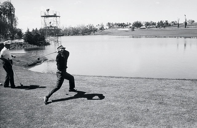 An angry Tommy Bolt tosses his club after hitting two shots into the water during the 1960 U.S. Open at Cherry Hills Country Club in Englewood, Colo. Arnold Palmer would wind up winning the tournament by erasing a seven-stroke deficit in the final round, the greatest comeback in U.S. Open history. This year's tournament begins today in San Francisco. (John G. Zimmerman/SI) VAN SICKLE: Can Mickelson win after all the heartbreak?DUSEK: Three major storylines to watch at the OpenBLOG: Follow all the action from the Olympic Club