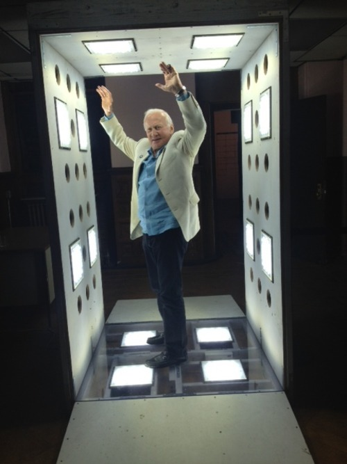 Astronaut Buzz Aldrin visited Tom Sachs SPACE PROGRAM: MARS on Friday! Here's Buzz in the Robert Irwin Scrim Clean Air Room (RISCAR).