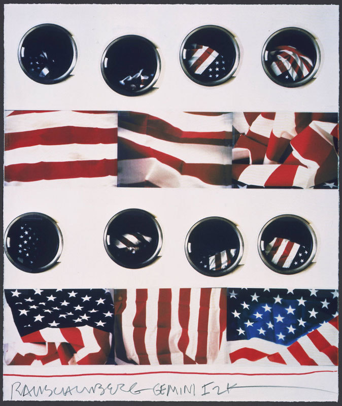 Robert Rauschenberg, Wash, 2000. 10 color screen print on paper. Happy Flag Day!