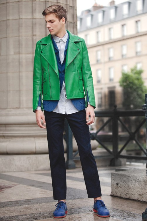 Men's Wear Grass-green biker jacket over seersucker blazer and pant with micro-gingham seersucker shirt. Photo by Franck Mura