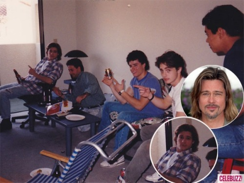 celebuzz:  Brad Pitt drinking a brewsky at Jason Priestley's house back in 1990  Cool