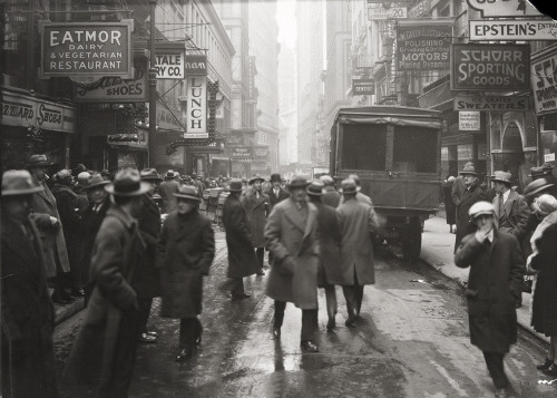 """Nassau Street, looking south from Fulton Street, on March 3, 1926."""