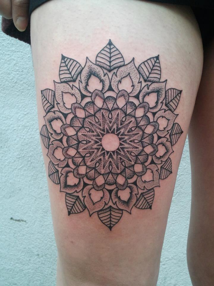 fuckyeahtattoos:  This is my mandala. It was done yesterday in about 4 hours and it is my first tattoo. I dont thinkt that tattoos NEED a special meaning but the mandala has one for me. It stands for the beauty of live but also for the evaneszent of it….its really personal.I like it alot and the artist was Manuel (Zell Kern) Studio: Zierstich in Vienna/Austria