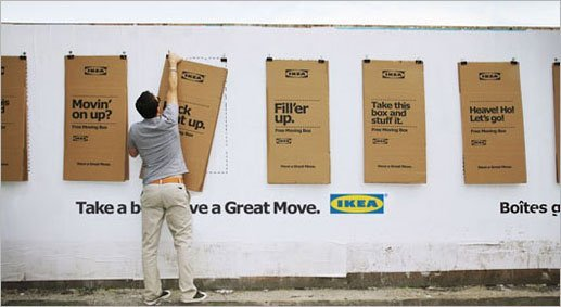 jonathanforhire:  Brilliant outdoor ads -> Ikea's cardboard posters fold down into moving boxes.http://adweek.it/KXCgIj