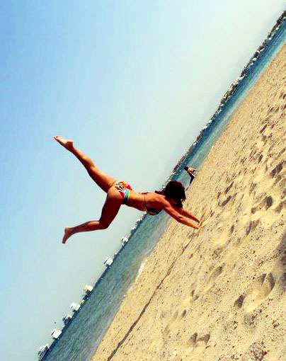 Handstands on the beach