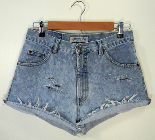 distressed high-rise cut offs; $20