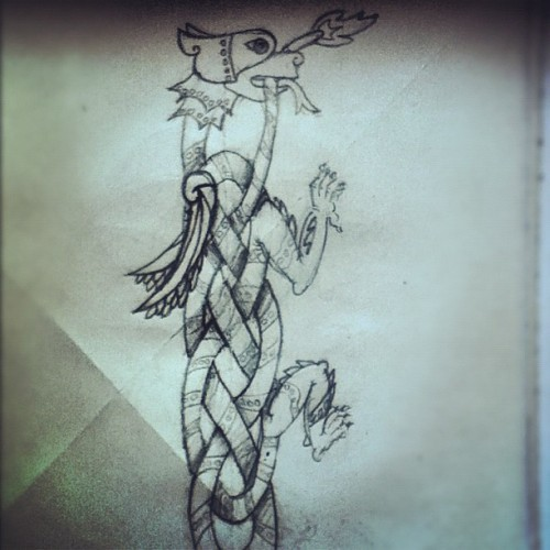 A drawing I was working on yesterday. #Celtic #griffin #folklore #knot #tie #animal #drawingoftheday #photooftheday #20likes #paper #ink #pen #art #create  (Taken with Instagram)