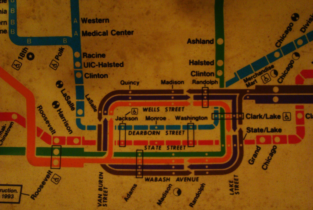 "Loop Looks like an in-car map from the early 1990s (see the ""under construction, 1993"" notice at the bottom left for Roosevelt station). (Source: Rob Elliott/Flickr)"