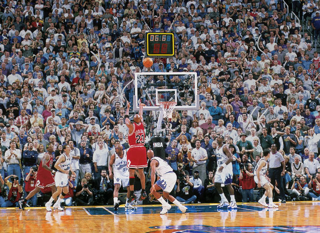 On this day in 1998, Michael Jordan coverted this game-winning shot against Utah to lead the Bulls to their third straight title and sixth in eight years. This would be Jordan's final game as a member of the Bulls. (Fernando Medina/NBAE/Getty Images) GALLERY: Michael Jordan's Hall of Fame CareerSI VAULT: Jordan breaks Utah's heart, Bulls win title (6.22.98)