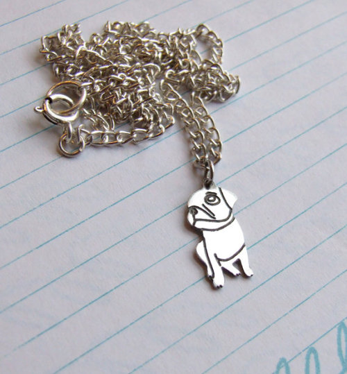 mugsofpugs:  Sterling Silver Custom Pug Necklace by Plain Jane Pugs