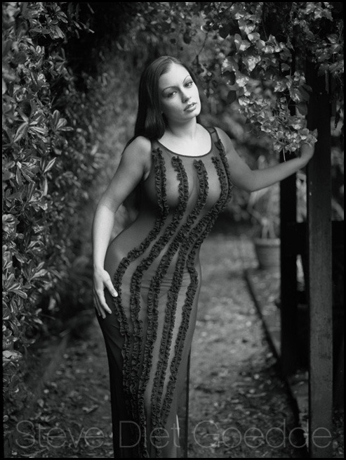 Aria Giovanni, Pasadena 2002 - A previously unpublished photo of Aria Giovanni shot in the rain at a friend's house in Pasadena. It was cold and wet that January day, but Aria was a real trooper, and we both managed to not get sick.
