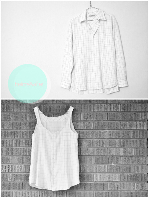 DIY Mens Dress Shirt to Loose Fitting Tank Tutorial. Easy restyle and tutorial from Cotton&curls here.