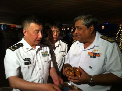 "Ananth Krishnan on Twitter: ""[Indian] Vice Admiral Anil Chopra, chief of eastern naval command, with Rear Admiral Shen Hao of the PLA Navy"" Here's his report for The Hindu."