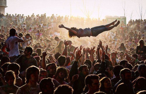 Crowd surfing always makes concerts more fun.