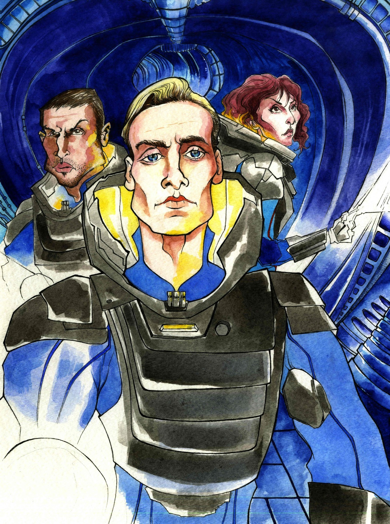 """Prometheus"" piece colored. Illustrated in Watercolor and India Ink by Christian Cimoroni. Again If you haven't seen ""Prometheus"" it's fantastic! Go see it."