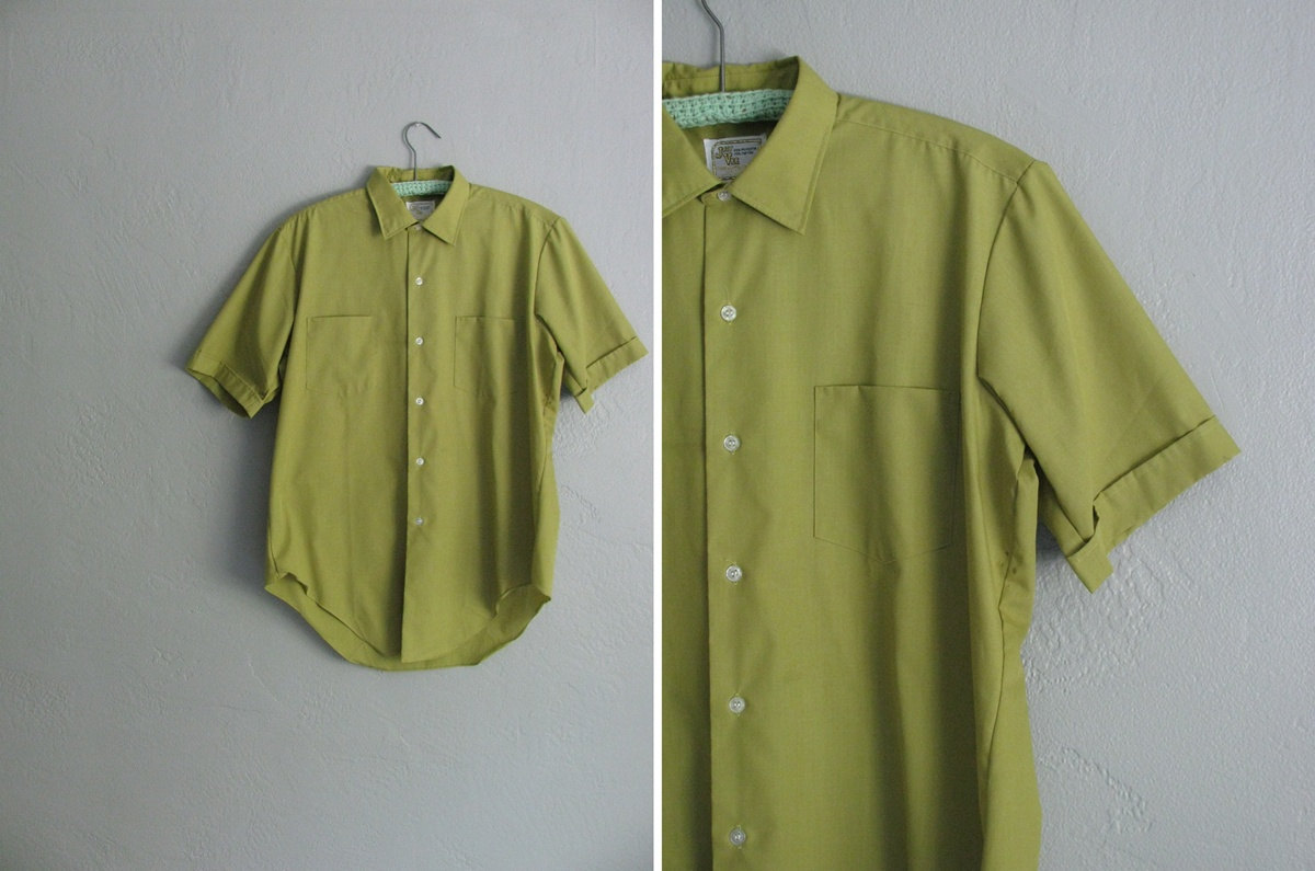 darlingvintage:  1960s pea green short sleeve oxford shirt at darling vintage