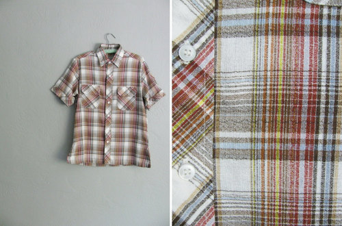 1970s plaid short sleeve button-up shirt at darling vintage