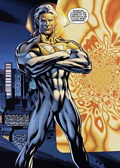 Awesome Gay Comic Book Characters (#11) (Unknown, Neil Sinclair - alias) | Apollo / Sun King Family: Jennifer Quantum, Jenny Quarx (adopted daughter) Husband: Lucas Trent, Midnighter Bio-Engineered Superhuman | Majestic-Class Superhuman, Solar-based being capable of absorbing solar energy and converting it into immense physical strength & speed, nigh-invulnerability, flight, & release blasts of laser-like hear vision through eyes The Authority | Stormwatch First Appearance: Stormwatch (Vol. 2) #4 (1998) by Warren Ellis & Bryan Hitch