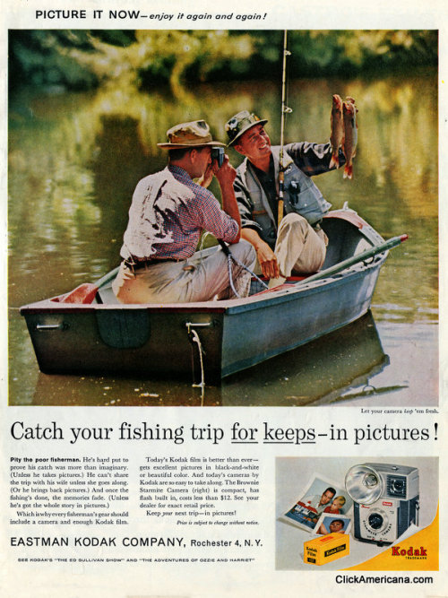 """Catch your fishing trip for keeps — in pictures!"" Ad for the Kodak Brownie Starmite Camera (1961)"