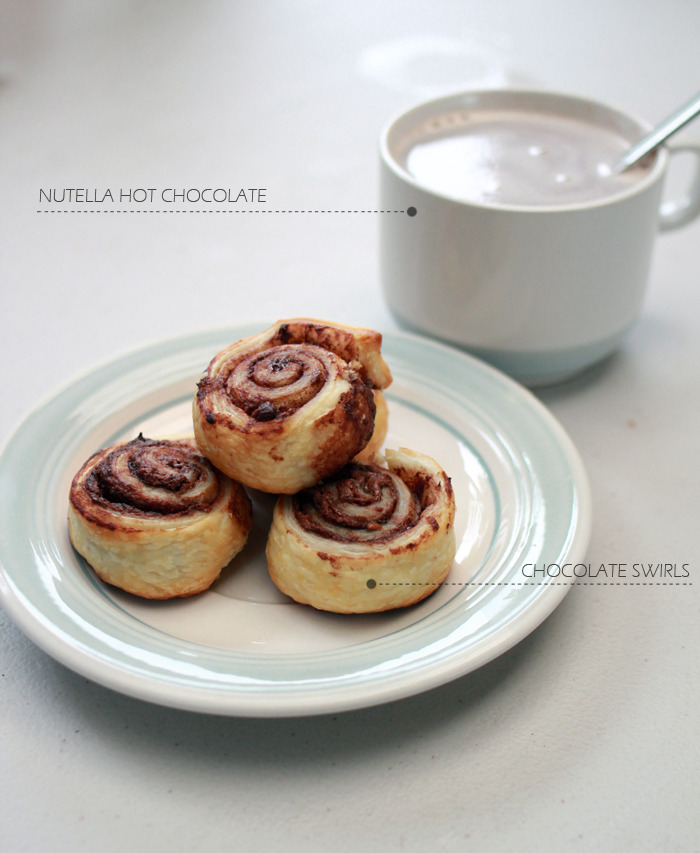 truebluemeandyou:  DIY Nutella Hot Chocolate and Nutella Chocolate Swirls. I'm known for posting easy, lazy recipes. The chocolate swirls use frozen pastry dough and seriously this is one of the easiest recipes ever and would be a great dessert. Recipes from Kitten Bear here.