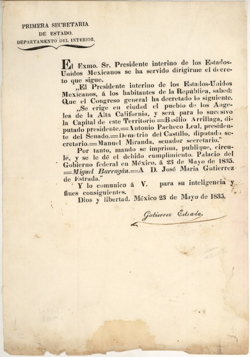 In this 1835 decree, the Mexican government announced that the pueblo (town) of Los Angeles would thenceforth be a ciudad (city). The decree is the oldest document preserved at the USC Libraries' Boeckmann Center for Iberian & Latin American Studies. To see more of the oldest objects in Southern California's archives, check out L.A. as Subject's latest KCET contribution.
