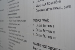 The 1908 London Olympic Medal table features the Tug of War competition; a competition dominated by Team GB . Well, actually, the police force of GB. The Gold medal team were from the London Police force while the silver medalists were from the Liverpool bobbies. The Americans were not happy though. They claimed the Brits cheated by having spikes on the bottom of their boots. The Brits said that they were just their normal work boots.