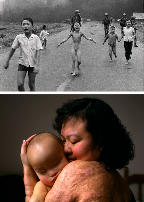 "hrtbps:  The 'Napalm Girl', 40 years later Joe McNally, who was commissioned by LIFE magazine to find and photograph subjects of Pulitzer Prize winning photos, shot Kim Phuc – the girl running from an airborne attack in this devastatingly iconic shot during the Vietnam War. The original photo was taken by AP photographer Nick Ut, and turned Kim into a propaganda tool for the anti-war movement.  Joe had the privilege of meeting and photographing Kim, who had recently given birth to her newborn son. Joe knew to treat the situation with care, since showcasing her scars from the napalm burn was significant. ""For me, doing this assignment reconfirmed so many things I've always believed about photography,"" says Joe in his blog post ""On a Road, 40 Years Ago"". ""That photo made on that horrible day was made in less than a second. Yet a lifetime spun on its power. With so many photographs being taken everywhere, easily, and thoughtlessly, it's easy to forget how powerful they can be, and occasionally are."" (via)"
