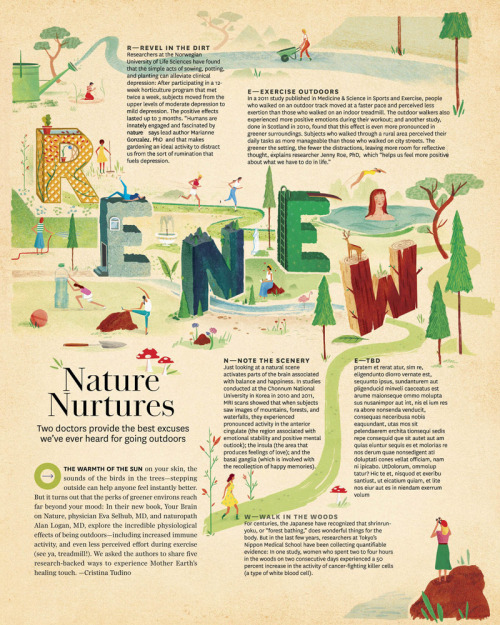O (The Oprah) Magazine - Editorial This is a full page illustration that I produced in March for the June issue of The Oprah Magazine. It was really interesting to work with some 3D typography for this piece titled 'Nature Nurtures' The illustration is in the 'Feeling Good' section of the magazine which gives it's readers ecotherapeutic ways to boost one's health and happiness.