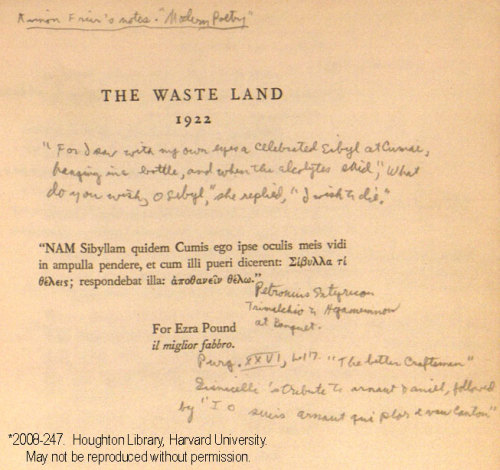 Allen Ginsberg's copy of The Wasteland (via poetsorg)
