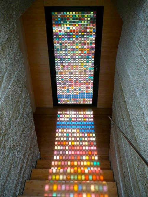 lickystickypickywe:  Glass door by Armin Blasbichler Studio. An Italian Studio which strives to develop innovative projects that combine architecture, design, and visual arts. Shown here: Framed slides of Pantone swatches, laminated glass, wood frame